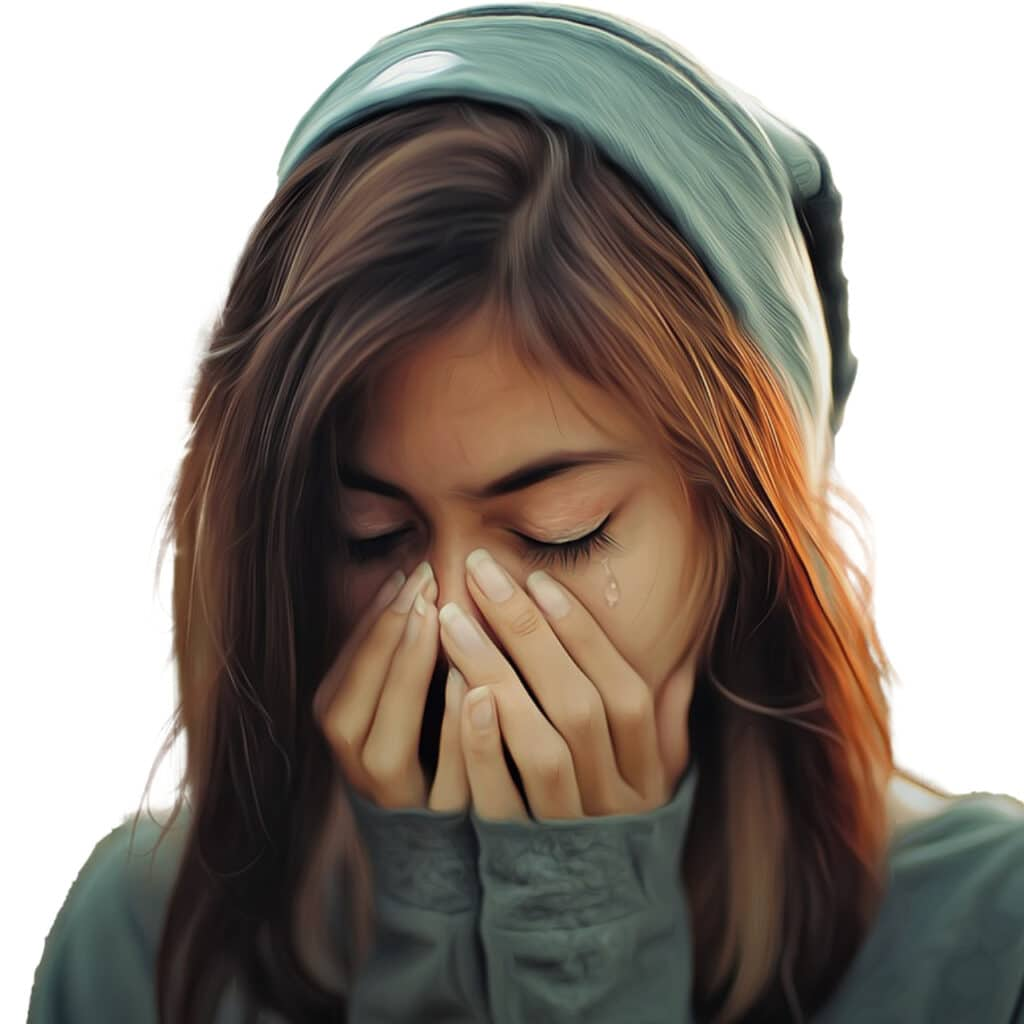 Photo of a woman crying.